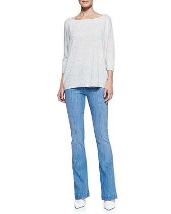 Boat-Neck Knit Pullover & High-Rise Boot-Cut Jeans