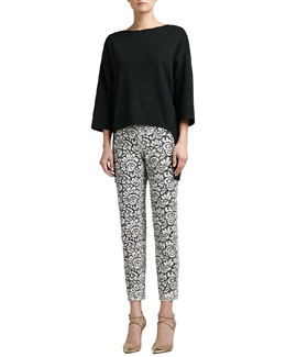 St. John Collection Milano Knit Bateau-Neck 3/4-Sleeve Tunic & Graphic Lace Cropped Pants