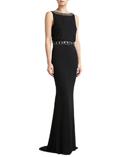 St. John Collection Matte Jersey Beaded Bateau-Neck Gown & Crepe Marocain Hand-Beaded Belt