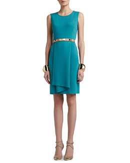 St. John Collection Milano Knit Sleeveless Dress with Origami Ruffle & Tribal Pyramid Shape Cuff