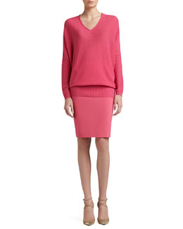 St. John Collection Links Wool-Cashmere Knit Batwing-Sleeve V-Neck Sweater & Crepe Marocain Pencil Skirt