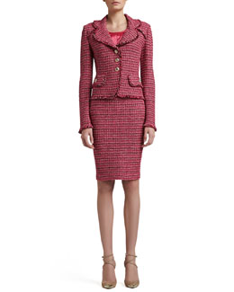 St. John Collection Heathered Dash Tweed Knit Jacket, Pencil Skirt & Liquid Satin Shell
