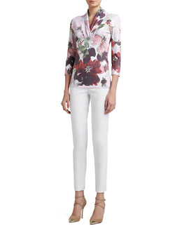 St. John Collection Garden Floral-Print Jersey Shawl-Collar 3/4-Sleeve Tee & Soft Stretch Denim Leggings