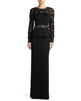 St. John Collection Sateen Milano Knit Peplum Gown with Tulle Floral Hand-Beaded Silk Chiffon and Side Slit & Crepe Marocain Hand-Beaded Belt with Chain and Grosgrain Tie
