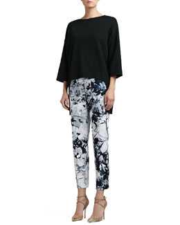 St. John Collection Milano Knit Bateau-Neck 3/4-Sleeve Top & Floral-Print Stretch Cotton Sateen Cropped Pants