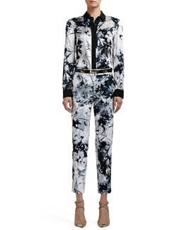 St. John Collection Floral-Print Stretch Silk Charmeuse Blouse, Sateen Cropped Pants & Narrow Leather Waist Belt