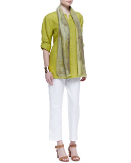 Eileen Fisher Handkerchief Linen Tunic, Slim Ankle Pants & Oxidized Jacquard Scarf