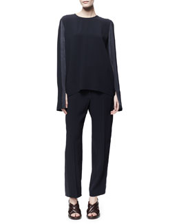 Stella McCartney Satin-Trim Slit-Sleeve Blouse & Lorette Satin-Striped Crop Pants