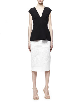 Stella McCartney Cap-Sleeve Silk Top & Rose-Applique High-Waist Midi Skirt