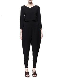 Stella McCartney 3/4-Sleeve Crop Top & High Yoke Peg Leg Pants