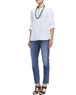 Eileen Fisher Zip-Front Linen-Stretch Tunic, Stretch Boyfriend Jeans & Sequined Rivulet Necklace, Petite