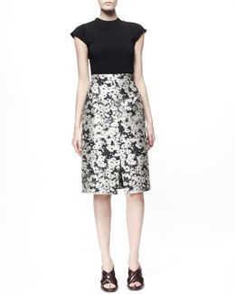 Stella McCartney Cap-Sleeve Knit Tee & Nina Daisy Jacquard Skirt