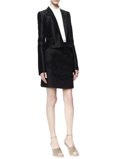 Stella McCartney Farrah Cropped Tuxedo Jacket, Button-Front Wilson Silk Blouse & Rose-Applique Cotton Pique Skirt