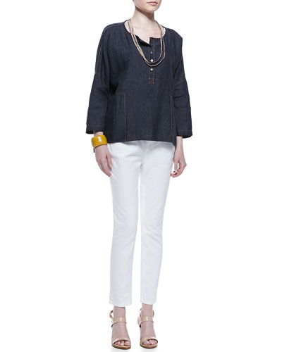 Henley Delave Linen Top, Slim Tank, Sequined Rivulet Necklace & Skinny Ankle Jeans