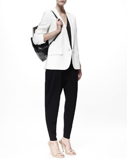 Stella McCartney Relaxed Stretch Cady Jacket & Croc-Embossed Sheer Jersey Tee