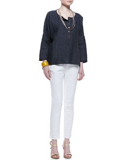 Eileen Fisher Henley Delave Linen Top, Slim Tank, Sequined Rivulet Necklace & Skinny Ankle Jeans, Petite