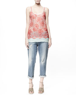 Stella McCartney Floral Lace-Overlay Tank & Ripped Tomboy Ankle Jeans
