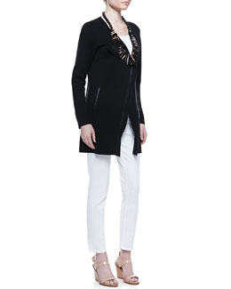 Eileen Fisher Leather-Trim Long Jacket, Organic Slim Tank & Skinny Ankle Jeans, Petite