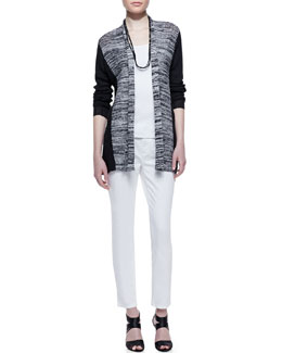 Eileen Fisher Marled Ribbed-Sleeve Cardigan, Cotton Slim Tank, Skinny Ankle Jeans & Sequined Rivulet Necklace