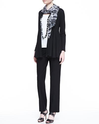 Eileen Fisher Lightweight Jersey Flutter Cardigan, Cotton Slim Tank, Washable Straight-Leg Pants & Parallelogram Marbleized Scarf