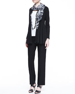 Eileen Fisher Lightweight Jersey Flutter Cardigan, Cotton Slim Tank, Washable Straight-Leg Pants & Parallelogram Marbleized Scarf, Petite