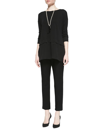 Eileen Fisher Silk Jersey Layered Boxy Tunic & Washable Stretch-Crepe Ankle Pants, Petite