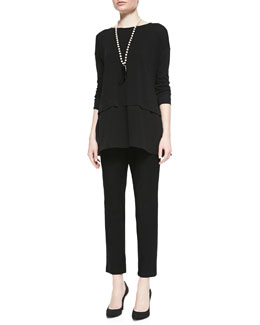 Eileen Fisher Silk Jersey Layered Boxy Tunic & Washable Stretch-Crepe Ankle Pants, Women's