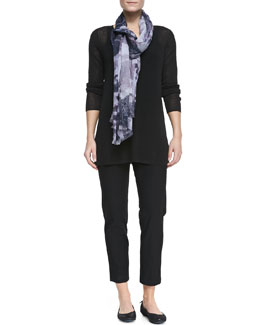 Eileen Fisher Linen-Blend Long-Sleeve Tunic, Slim Camisole, Printed Gauze Scarf  & Crepe Ankle Pants, Women's