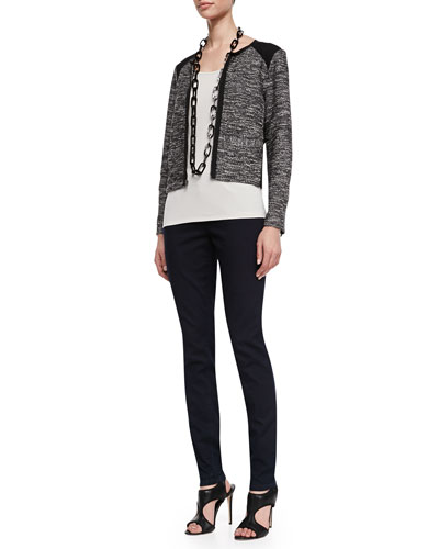 Eileen Fisher Tweedy Zip-Front Short Jacket, Long Slim Camisole & Organic Soft Stretch Skinny Jeans