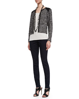 Eileen Fisher Tweedy Zip-Front Short Jacket, Long Slim Camisole & Organic Soft Stretch Skinny Jeans, Petite