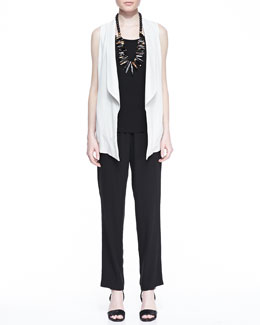 Eileen Fisher Silk Shawl-Collar Vest, Silk Jersey Long Slim Camisole & Silk Georgette Slim Pants, Women's
