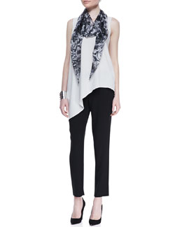 Eileen Fisher Silk Asymmetric Draped Shell, Cropped Crepe Drawstring Pants & Marbleized Parallelogram Silk Scarf