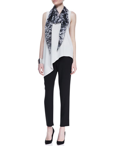 Silk Asymmetric Draped Shell, Cropped Crepe Drawstring Pants & Marbleized Parallelogram Silk Scarf