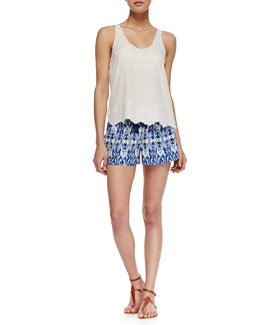 Joie Boyd Silk Embroidered Tank Top and Layana Drawstring Silk Shorts