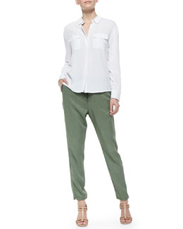 AG Adriano Goldschmied Sway Long-Sleeve Collared Blouse and Drawstring Weekend Pants