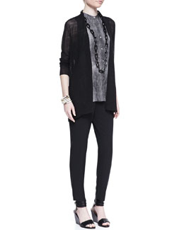 Eileen Fisher Polished Linen-Blend Cardigan, Hazy Printed Long Shirt  & Cropped Crepe Drawstring Pants