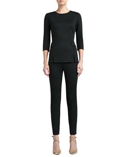 St. John Collection Milano Knit Vented Peplum Top with 3/4 Length Sleeves and Pocket Flap & Milano Knit Alexa Slim Ankle Pants