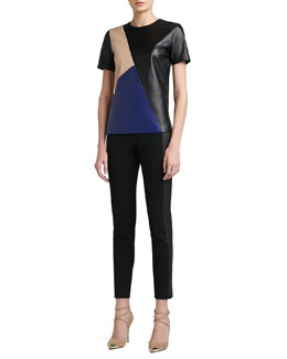 St. John Collection Soft Napa Leather Color Block Top With Side Slits & Stretch Milano Knit Slim Ankle Pant With Luxe Stretch Leather Side Panels