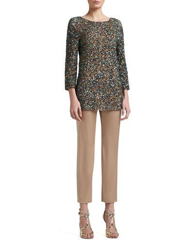 St. John Collection Hand Beaded Textural Micro Sequin 3/4 Length Sleeve Tunic & Liquid Satin Side Zip Cropped Emma Pants