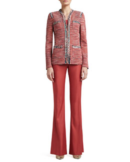 St. John Collection Heathered Shantung Tweed Knit Mandarin Collar Jacket with Pockets & Stretch Shimmer Twill Narrow Bootleg Pants