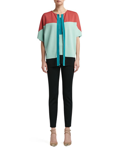 St. John Collection Milano Knit Colorblock Batwing Full Cardigan, Sleeveless Tunic & Milano Knit Alexa Slim Ankle Pants