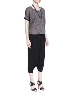 Eileen Fisher Melange Mesh Box Top,  Long Slim Camisole, Sequined Rivulet Necklace & Harem Lightweight Pants
