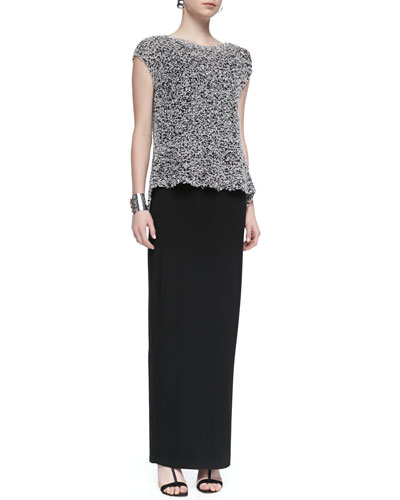 Short-Sleeve Chunky Knit Top, Long Jersey Camisole & Fold-Over Maxi Skirt