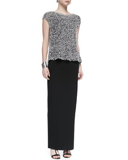 Eileen Fisher Short-Sleeve Chunky Knit Top, Long Jersey Camisole & Fold-Over Maxi Skirt, Petite