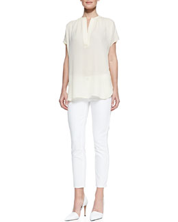 Vince Cap-Sleeve Silk Blouse & Dylan Slim Ankle Jeans