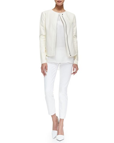 Vince Perforated Leather Zip Jacket, Silk/Jersey Short-Sleeve Tee & Dylan Slim Ankle Jeans