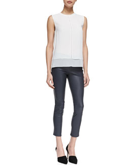 Vince Rayon/Silk Layered Top & Cropped Skinny Leather Leggings