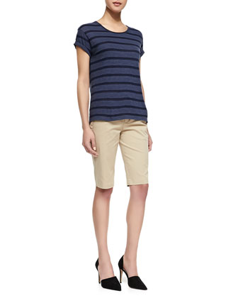 Striped Rolled-Sleeve Slub Top & Side-Buckle Bermuda Shorts