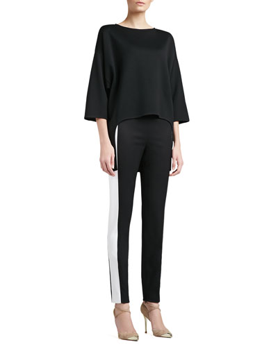 St. John Collection Milano Knit Bateau Neck 3/4 Length Sleeve Tunic & Stretch Venetian Wool Slim Ankle Pant with Contrast Side Band