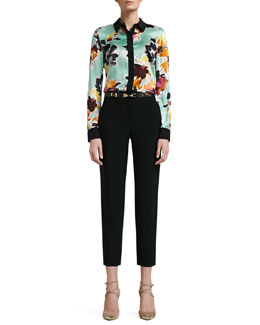 St. John Collection Floral Print Stretch Silk Charmeuse Blouse with Contrast Stretch Silk CDC Trim, Emma Crepe Marocain Pants & Narrow Leather Waist Belt